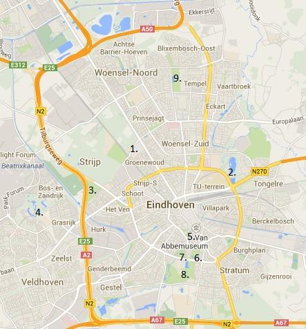 Eindhoven basiskaart met locaties